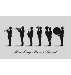 Marching brass band black silhouette vector image