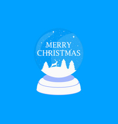 merry christmas transparent snow globe holiday vector image