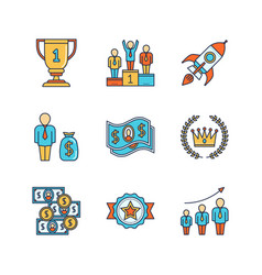minimal lineart flat business iconset winners vector image