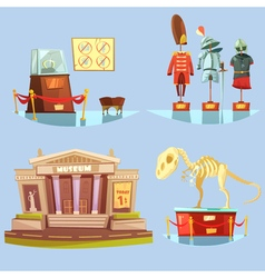 Museum Retro Cartoon 2x2 Flat Icons Set vector image
