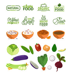 Natural product organic meal logo and food set vector