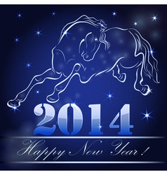 New 2014 year card with horse outline vector image