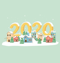 new year 2020 greeting card town trees snow lamps vector image