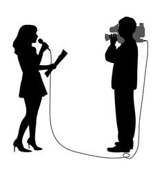 News reporter anchor woman and cameraman reportage vector