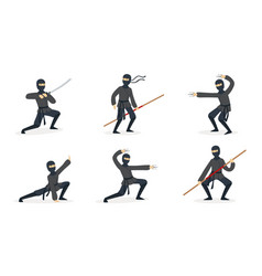 ninja in black clothes and mask set vector image