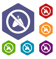 no moth sign icons set vector image
