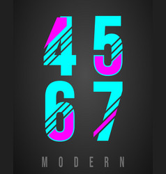 number font modern design set of numbers 4 5 6 vector image