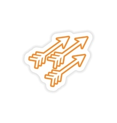 Paper sticker Indian arrows on white background vector