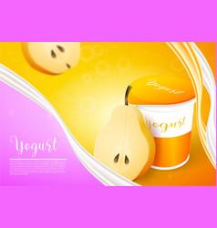 pears yogurt ads template background vector image