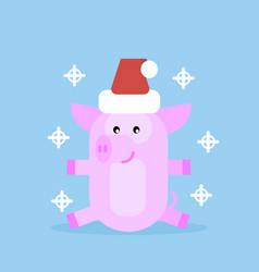 pig in santa claus hat vector image