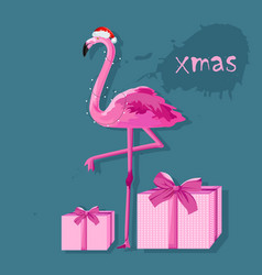 pink flamingo with white fairy lights and gift vector image