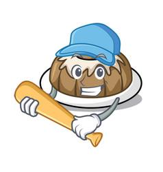 Playing baseball bundt cake character cartoon vector