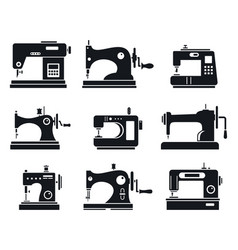 Quality sew machine icon set simple style vector