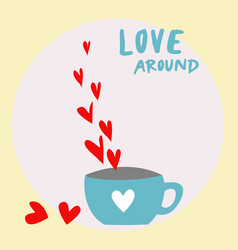 red hearts vapor from the coffee cup on white and vector image