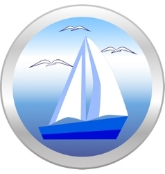 Sailboat and gulls in the circle vector