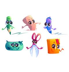 school supplies cartoon characters set vector image