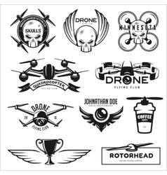 Set drone flying club labels badges vector