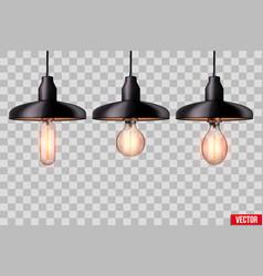 Set edison light bulb with metal shade vector