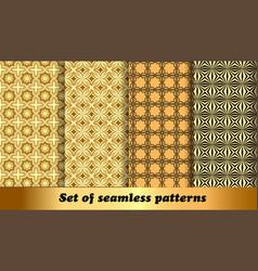 set golden geometric seamless patterns vector image