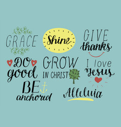 set of 8 hand lettering christian quotes with vector image