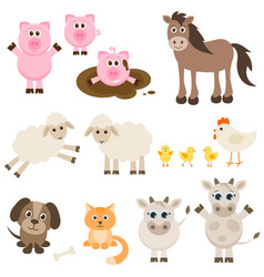 Set of different farm animals vector