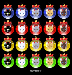 set of multi-colored christmas balls with cat face vector image