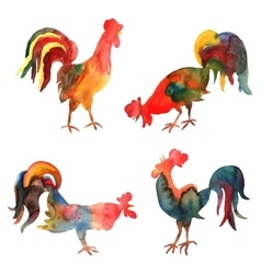 Set of watercolor fire cocks on white vector
