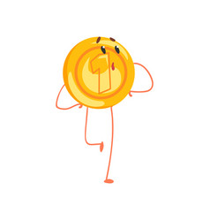 Shiny golden coin character with surprised face vector