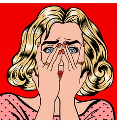 Shocked Woman Closes Eyes with Her Hands Pop Art vector image