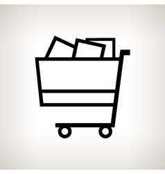 Silhouette cart on a light background vector image