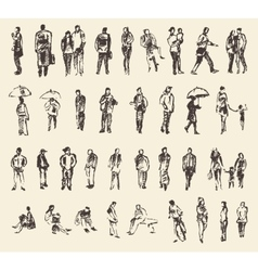Sketch of people hand drawing vector image
