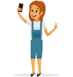 Smiling girl is posing and taking selfie child vector
