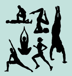 Sport training and acrobat silhouette vector