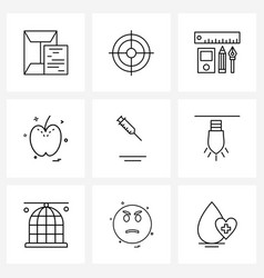 Stock icon set 9 line symbols for medical vector