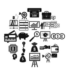 Stockbroker icons set simple style vector