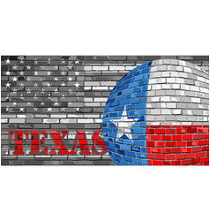 Texas flag on the grey usa flag background vector