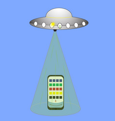 ufo flying spaceship isolated on white photo vector image