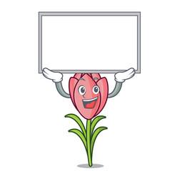 up board crocus flower character cartoon vector image