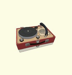 Vintage turntable record player vinyl record vector