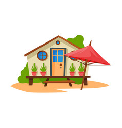 wooden bungalow on coast tropical beach summer vector image