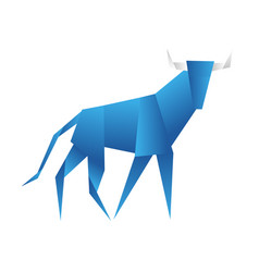 young bull origami abstract isolated on a white vector image