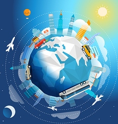 Across the world tour by different vehicle Travel vector image vector image