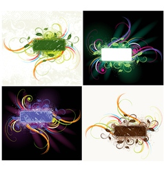 colorful floral label set vector image vector image
