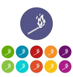 Match flame set icons vector image