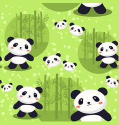panda bear seamless pattern green bamboo vector image vector image