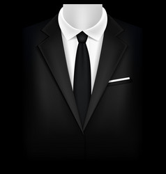 realistic detailed 3d black suit and tuxedo vector image