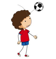 little boy bouncing football on his head vector image