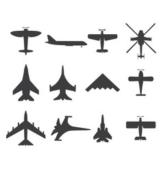 planes icons set on white background vector image