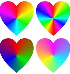 Rainbow gradient happy heart icon template set vector