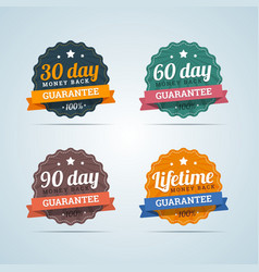 Set of money back guarantee badges in flat style vector image vector image